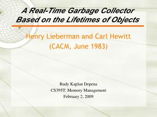 A Real-Time Garbage Collector Based on the Lifetimes of Objects