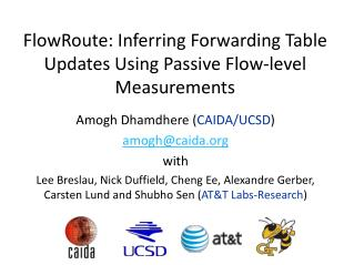 FlowRoute : Inferring Forwarding Table Updates Using Passive Flow-level Measurements