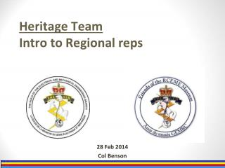 Heritage Team Intro to Regional reps