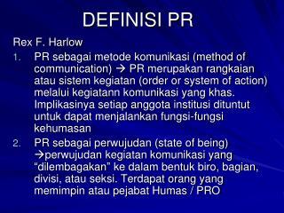 DEFINISI PR