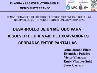 Anna Jurado Elices Estanislao Pujades  Victor Vilarrasa Enric Vàzquez-Suñé Jesus Carrera