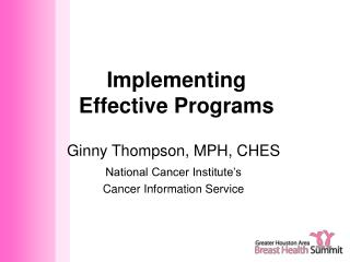 Implementing  Effective Programs