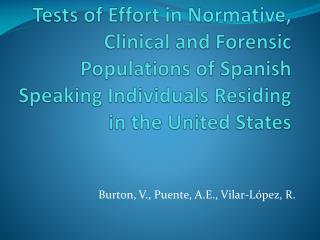 Burton, V., Puente, A.E., Vilar-L�pez, R.
