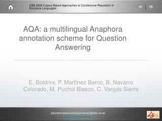 AQA: a multilingual Anaphora annotation scheme for Question Answering