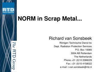 NORM in Scrap Metal...