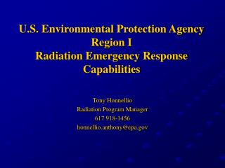 U.S. Environmental Protection Agency Region I Radiation Emergency Response Capabilities