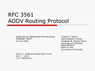 RFC 3561  AODV Routing Protocol