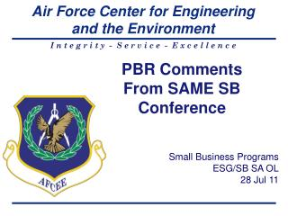 PBR Comments  From SAME SB Conference
