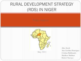 RURAL DEVELOPMENT STRATEGY (RDS) IN NIGER