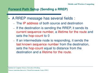 Forward Path Setup (Sending a RREP)