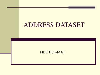 ADDRESS DATASET