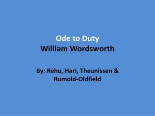 Ode to Duty William Wordsworth