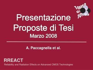 Presentazione Proposte di Tesi Marzo 2008