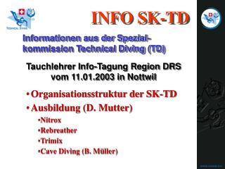 Organisationsstruktur der SK-TD Ausbildung (D. Mutter) Nitrox Rebreather Trimix
