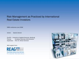 Risk Management as Practiced by International Real Estate Investors