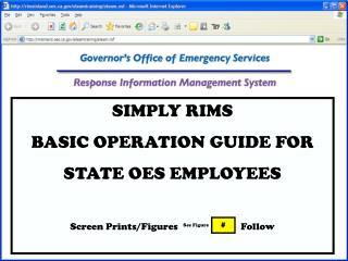 SIMPLY RIMS BASIC OPERATION GUIDE FOR STATE OES EMPLOYEES