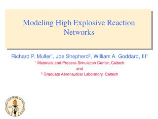 Modeling High Explosive Reaction Networks