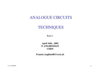 ANALOGUE CIRCUITS TECHNIQUES