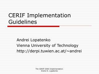 CERIF Implementation Guidelines
