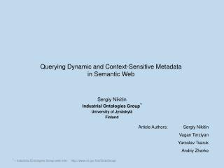 Querying Dynamic and Context-Sensitive Metadata  in Semantic Web