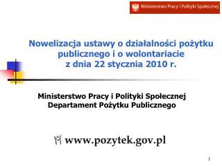 Ministerstwo Pracy i Polityki Społecznej Departament Pożytku Publicznego