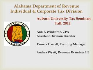 Alabama Department of Revenue Individual & Corporate Tax Division