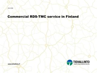 Commercial RDS-TMC service in Finland