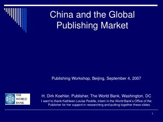 China and the Global Publishing Market