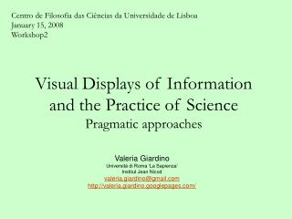 Visual Displays of Information and the Practice of Science Pragmatic approaches