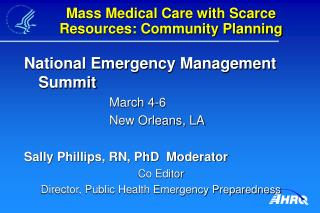 Mass Medical Care with Scarce Resources: Community Planning