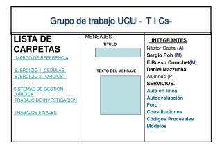 Grupo de trabajo UCU -  T I Cs-