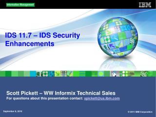 IDS 11.7 � IDS Security Enhancements