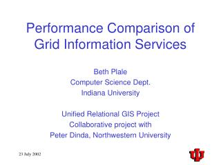 Performance Comparison of Grid Information Services