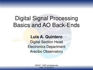 Digital Signal Processing Basics and AO Back-Ends