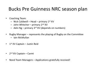 Bucks Pre Guinness NRC season plan