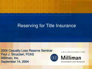 Reserving for Title Insurance