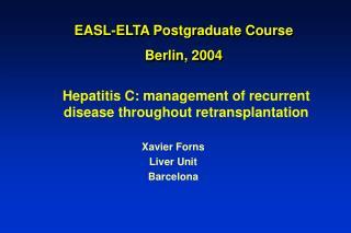 EASL-ELTA Postgraduate Course Berlin, 2004