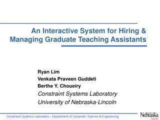 An Interactive System for Hiring & Managing Graduate Teaching Assistants