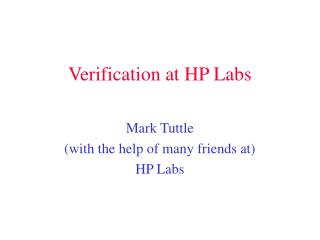 Verification at HP Labs
