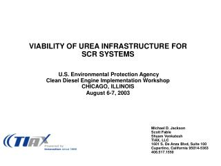 VIABILITY OF UREA INFRASTRUCTURE FOR SCR SYSTEMS    U.S. Environmental Protection Agency Clean Diesel Engine Implementat