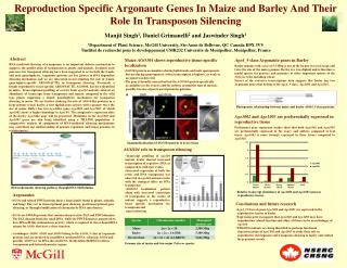Reproduction Specific Argonaute Genes In Maize and Barley And Their Role In Transposon Silencing