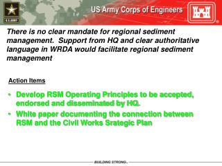 Develop RSM Operating Principles to be accepted, endorsed and disseminated by HQ.