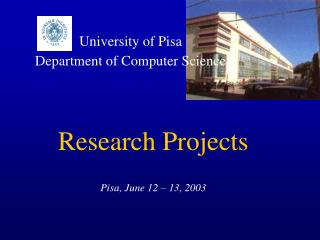 University of Pisa Department of Computer Science
