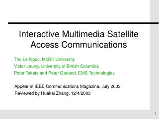 Interactive Multimedia Satellite Access Communications