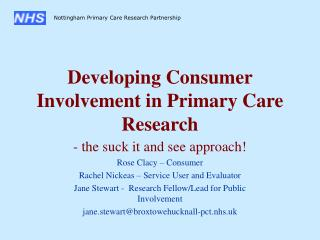 Developing Consumer Involvement in Primary Care Research