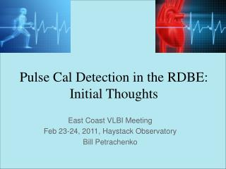 Pulse Cal Detection in the RDBE: Initial Thoughts