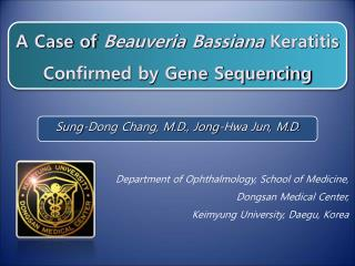 A Case of Beauveria Bassiana Keratitis Confirmed by Gene Sequencing