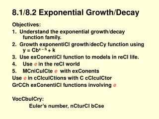 8.1/8.2 Exponential Growth/Decay