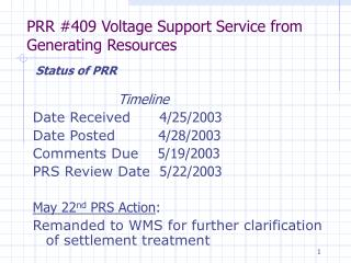PRR #409 Voltage Support Service from Generating Resources