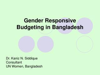 Gender Responsive Budgeting in Bangladesh